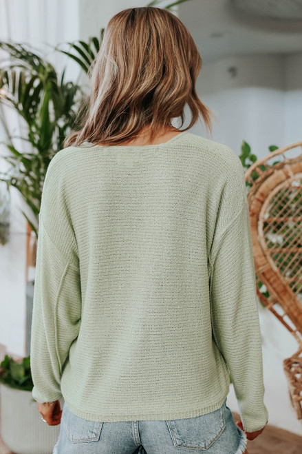 Coastal Heat V-Neck Sage Seam Detail Sweater