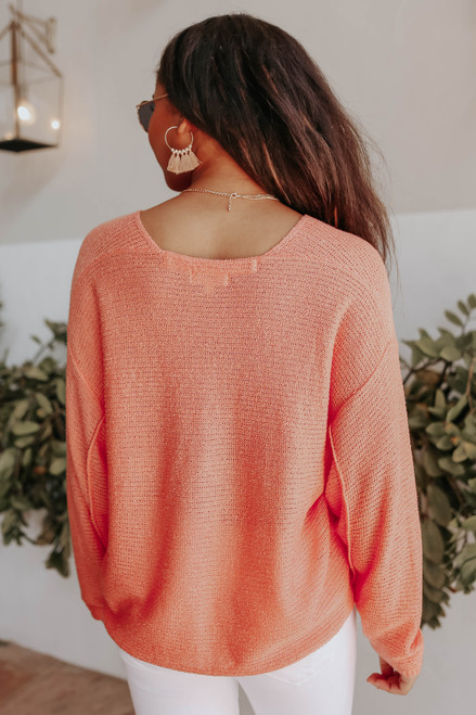 Coastal Heat V-Neck Peach Seam Detail Sweater