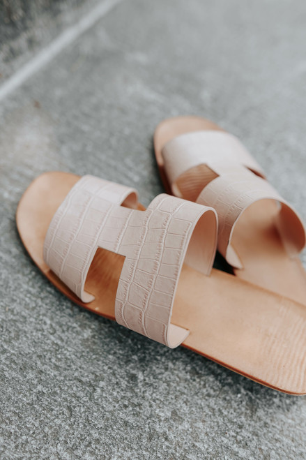Faux Croc Blush H-Band Slide Sandals