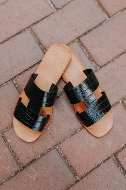 Faux Croc Black H-Band Slide Sandals