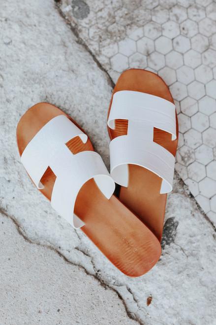 Faux Croc White H-Band Slide Sandals