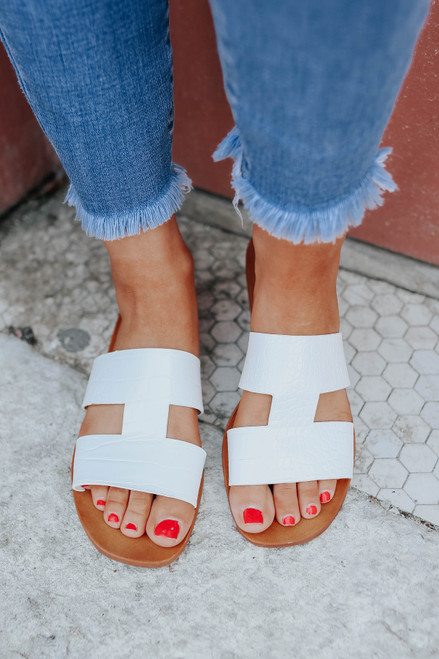 Faux Croc White H-Band Slide Sandals