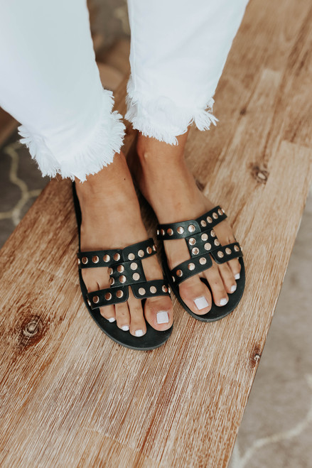 Crowd Pleaser Studded Black H-Band Sandals
