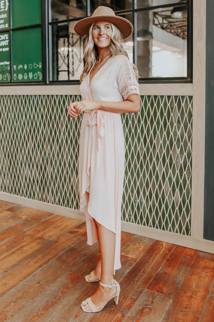 Short Sleeve Crochet Blush High Low Wrap Maxi