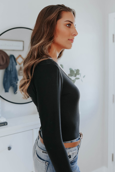Sasha Scoop Neck Black Bodysuit