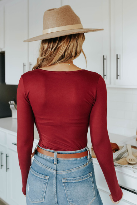 Sasha Scoop Neck Burgundy Bodysuit