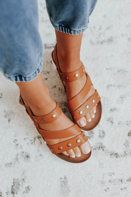 Dirty Laundry Cee Cee Brown Studded Sandals