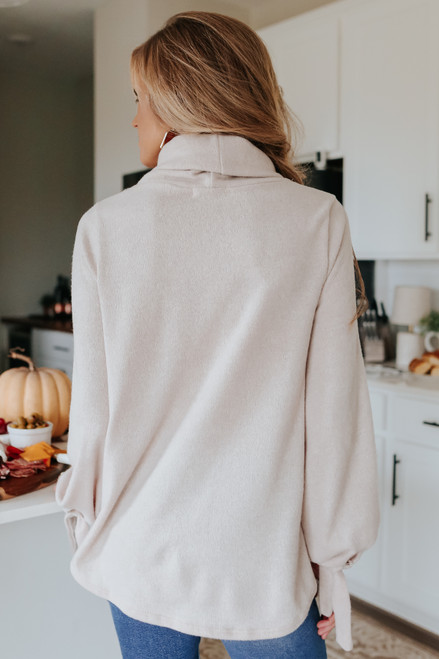 Cowl Neck Beige Tie Sleeve Sweater