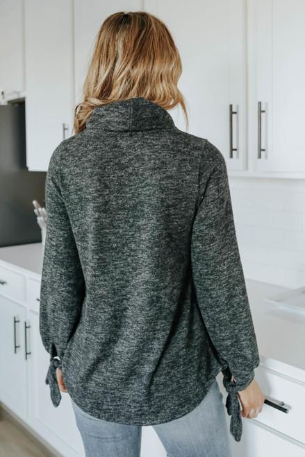 Cowl Neck Black Tie Sleeve Sweater