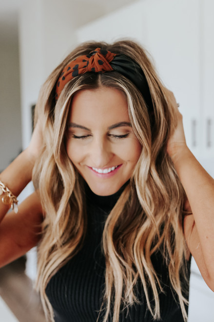 Faux Leather Leopard Contrast Headband