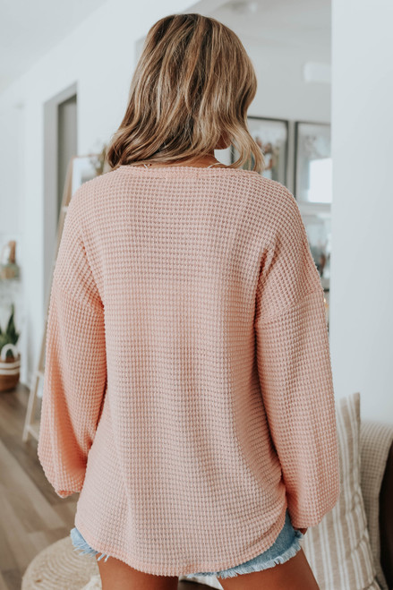 Nice View V-Neck Peach Waffle Top