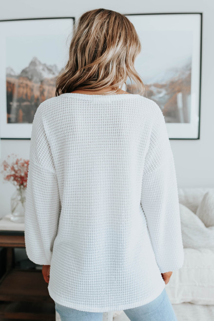 Nice View V-Neck Ivory Waffle Top