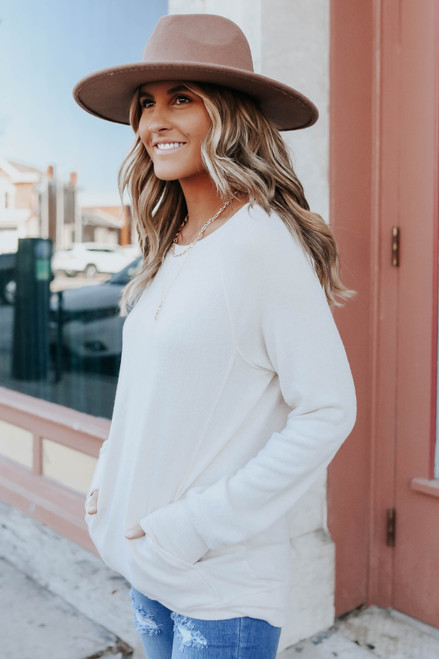 Out of Office Brushed Taupe Pullover