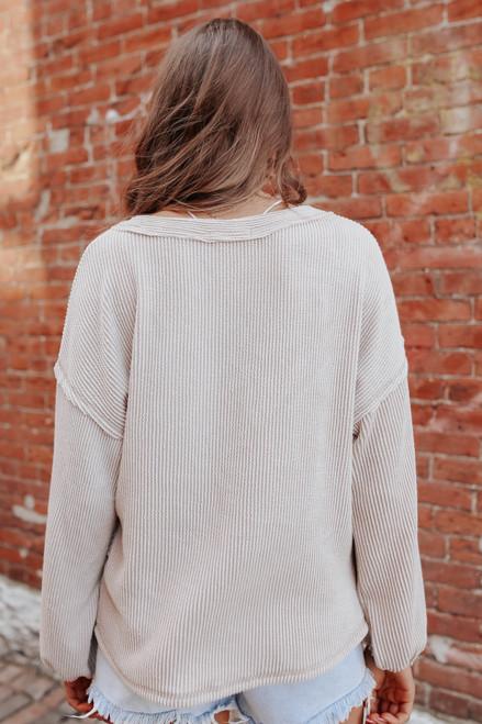 V-Neck Seam Detail Ribbed Pullover