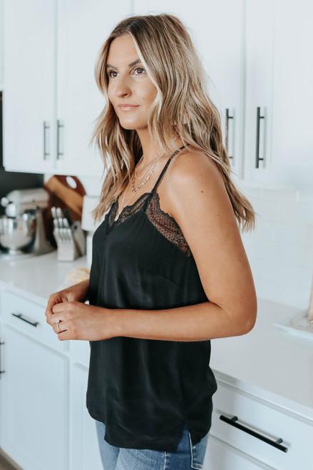 Juliette V-Neck Lace Detail Black Cami