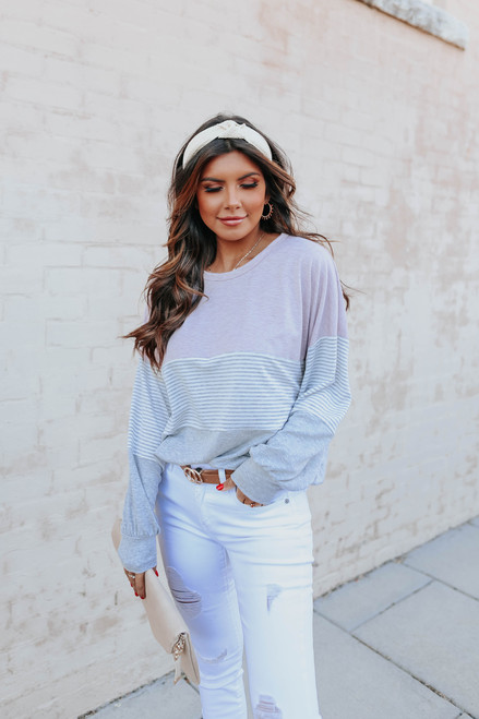 Kenzie Contrast Striped Colorblock Pullover