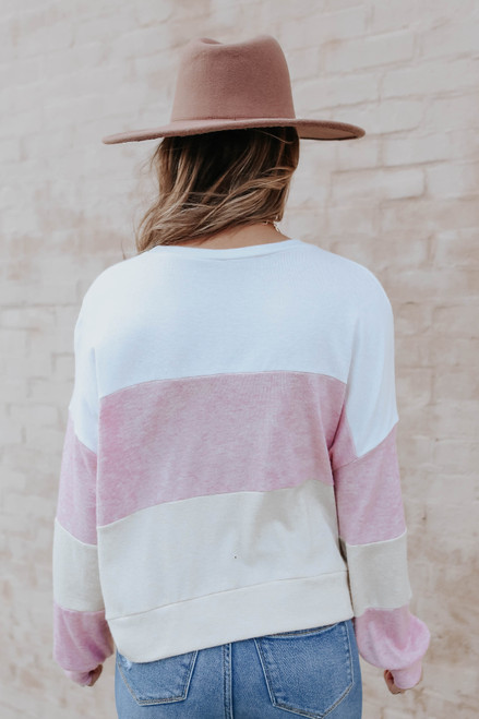Oaklee Pink Colorblock Pullover