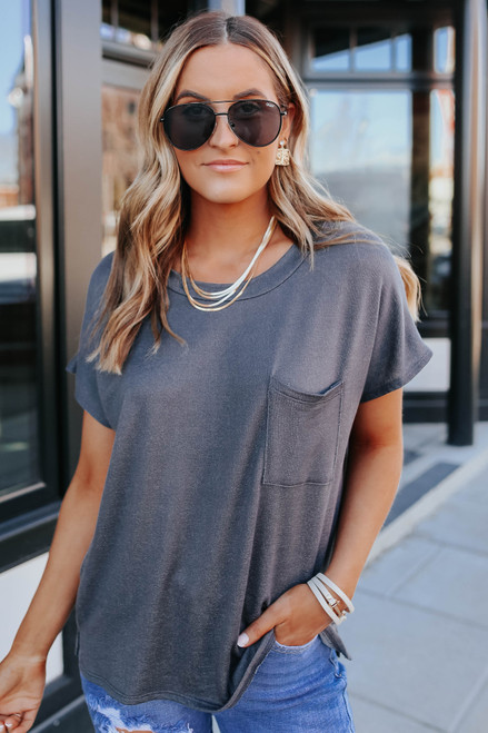 Hang Out Charcoal Pocket Terry Tee