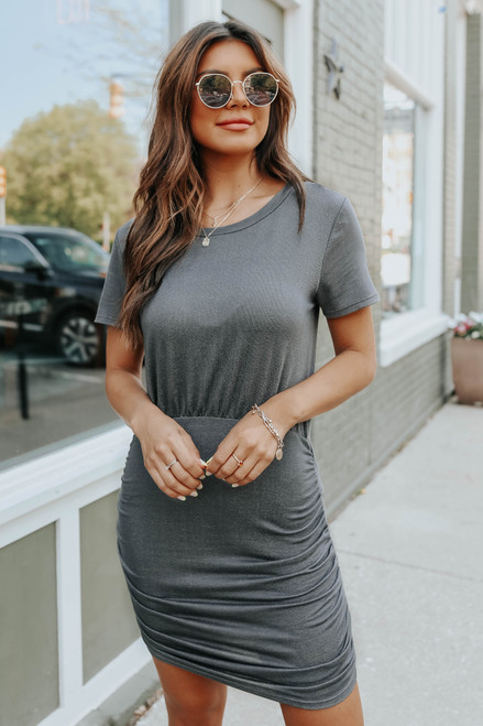 Short Sleeve Ruched Side Terry Dress
