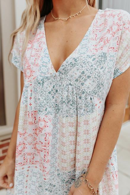 V-Neck Mixed Print Babydoll Dress