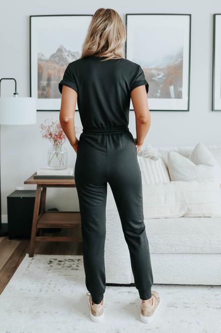 Short Sleeve Surplice Terry Jogger Jumpsuit