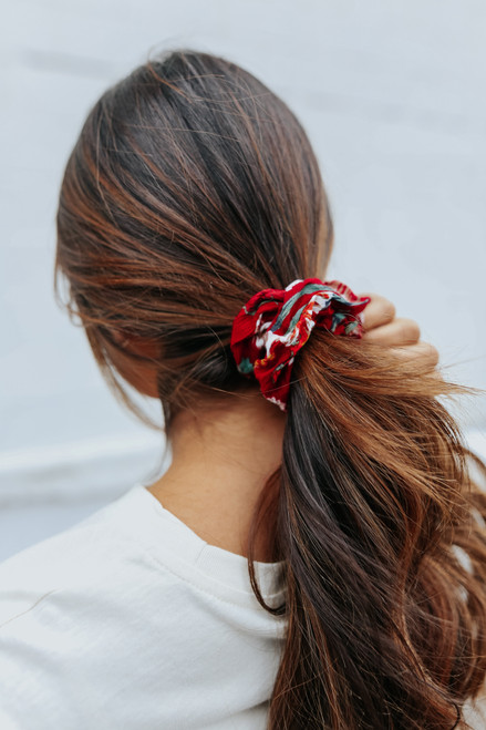 Burgundy Floral Scrunchie