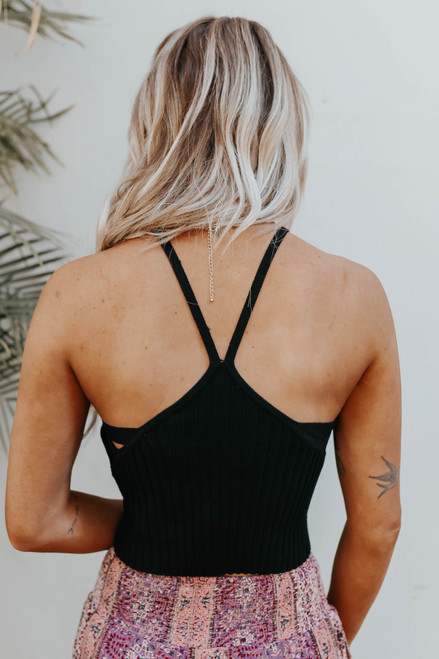 Side Detail Ribbed Black Cropped Tank