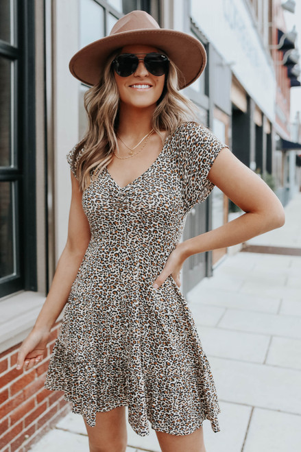 V-Neck Leopard Ruffle Hem Dress