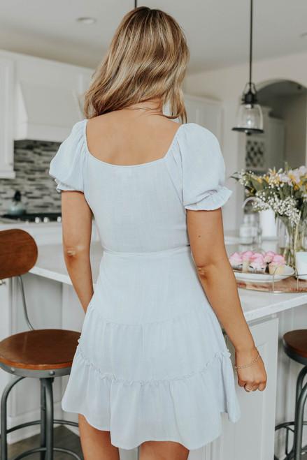Puff Sleeve Tiered Linen Wrap Dress
