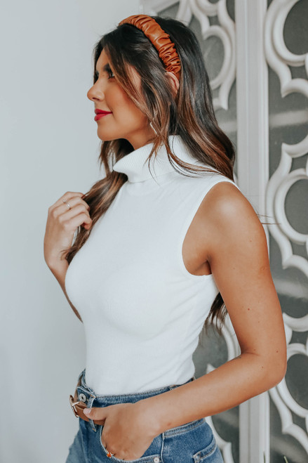Social Affair Turtleneck White Bodysuit