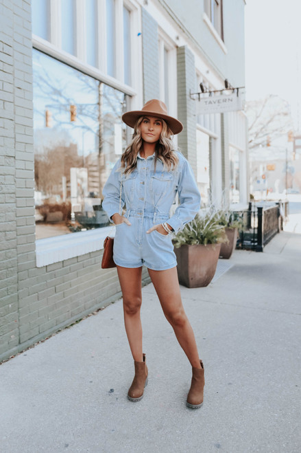 Get It Right Button Down Denim Romper