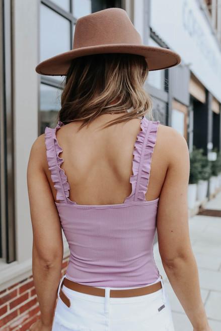 Ruffle Strap Lavender Ribbed Bodysuit