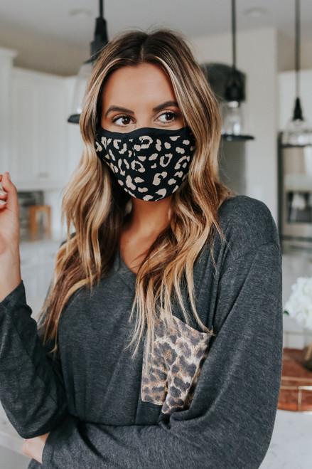 Leopard Contrast Face Mask