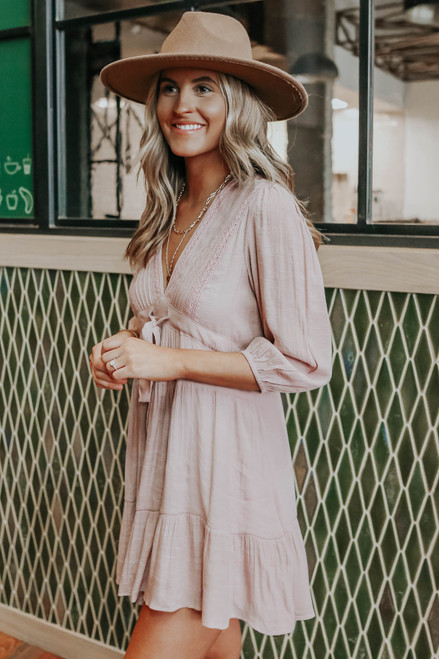 Grier V-Neck Drawstring Tiered Dress