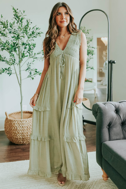 V-Neck Open Back Ruffle Empire Maxi