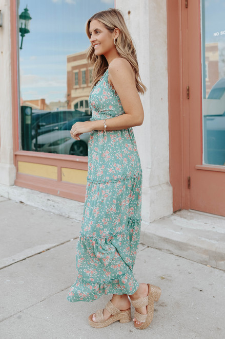 V-Neck Cross Back Tiered Floral Maxi