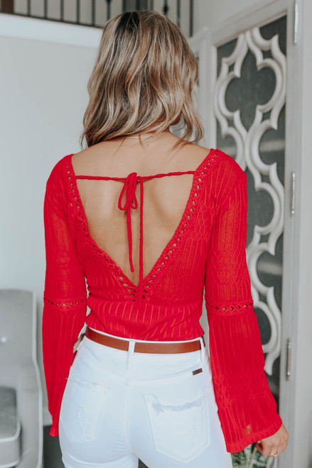 V-Neck Ladder Detail Red Lace Bodysuit