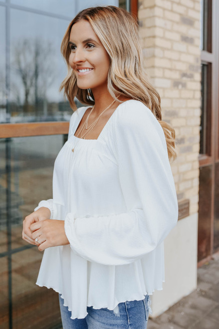 Square Neck Ribbed Tiered Top