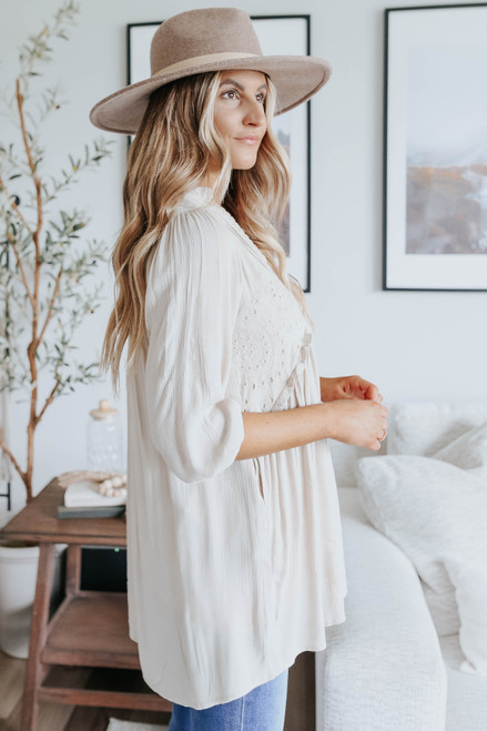 V-Neck Crochet Lace Natural High Low Tunic