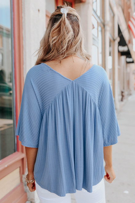 V-Neck Ribbed Empire Top
