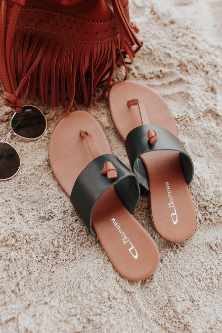 CL By Laundry Admire Black Leather Sandals