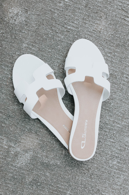 CL By Laundry Artist White Leather Sandals