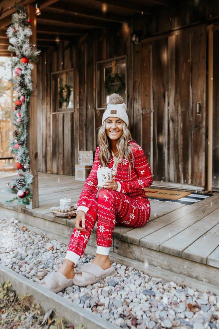 Fair Isle Red Reindeer Pajama Set