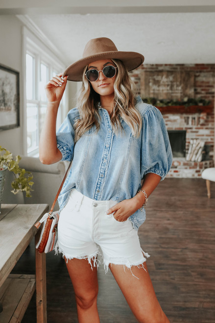Free People Suhrie Light Wash Denim Top