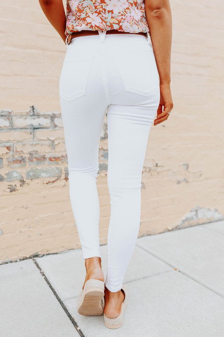 Free People Lily White Montana Skinny Jeans