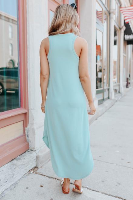 V-Neck Seafoam Curved Hem Midi Dress