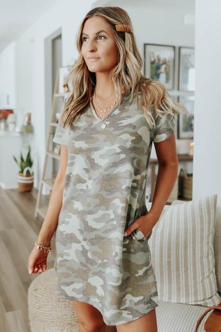 V-Neck Camo Terry Dress