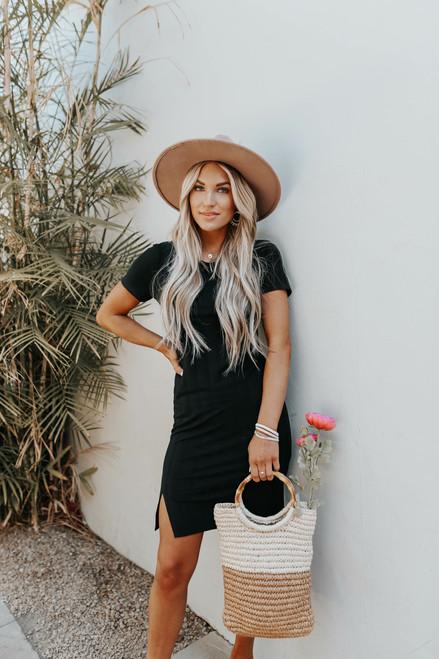 Torey Textured Stripe Black T-Shirt Dress