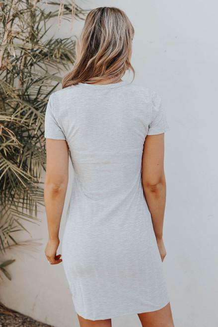 Torey Textured Stripe Grey T-Shirt Dress