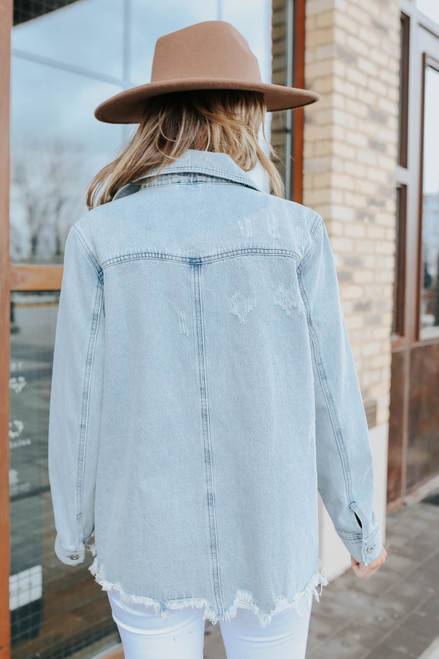Small Town Light Wash Distressed Denim Jacket